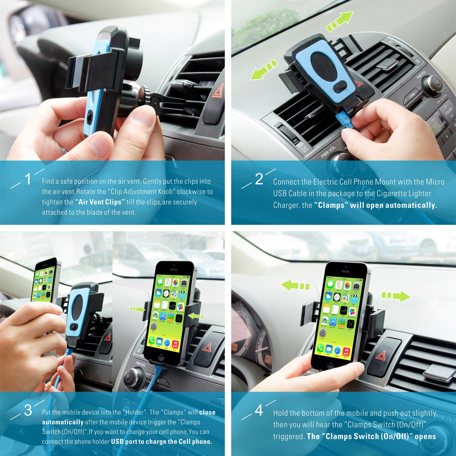 360/°Rotation Top-Longer Industry Limited TL C20 Top-Longer Car Phone Mount Air Vent Mobile Phone Cradle Car Holder with USB ChARGING PORT