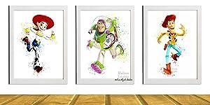 Disney's Toy Story Inspired Digital Print, Watercolor Painting Effect, Illustration, Nursery Decor, 8 X 10 Unframed