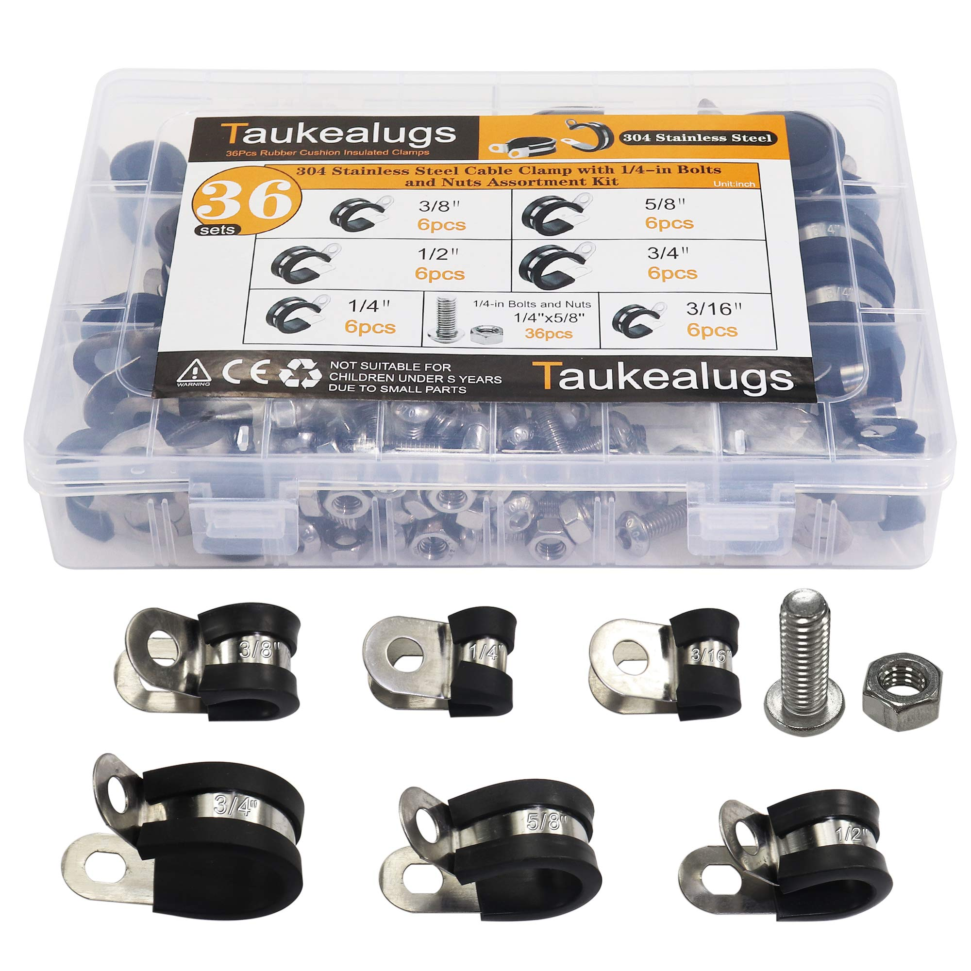 36sets Rubber Cushion Insulated hose Cable oil line Clamps-6sizes 304 Stainless Steel Metal Clamp with Hex Bolts Screws Nuts Assortment Kit by Taukealugs