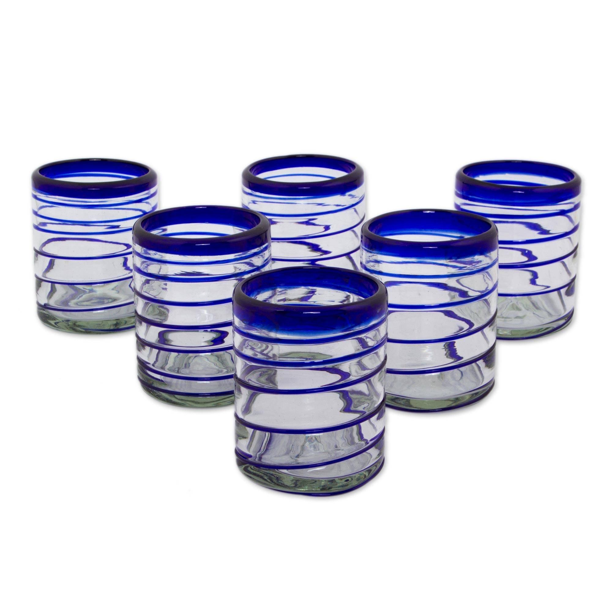 NOVICA Blue Clear Glass Hand Blown Cocktail Glasses, 11 oz, Cobalt Spiral' (set of 6)