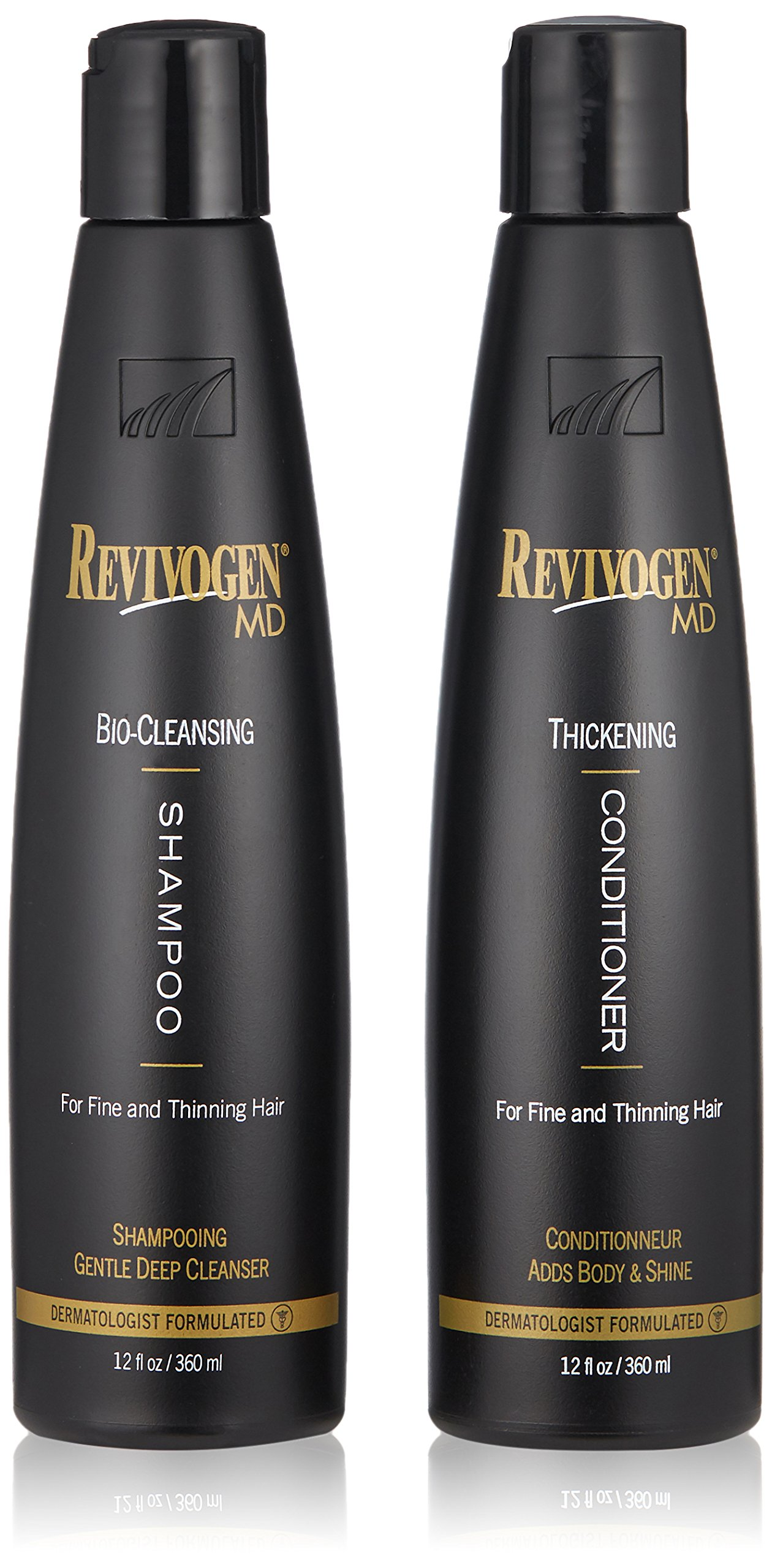 Revivogen MD Bio Cleansing Shampoo & Thickening Conditioner Duo Set for fine, thinning hair create volume, cleanse DHT, nourish scalp for healthier hair growth & 2 bottles, 12 oz. each by Revivogen MD
