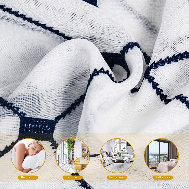 2 Pi/èces Topfinel Rideaux Voilage Blanc 140x160cm en Lin Decoration Chambre Brod/é des Losanges A Oeillets Rideau pour Salon Transparent pour Fen/être Cuisine