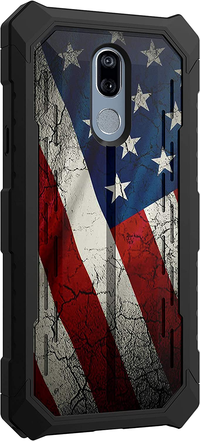 TurtleArmor | Compatible with LG Stylo 5 Case | Stylo 5 Plus Case | Stylus 5 Case | L722DL | Slim Fitted TPU Edge Rugged Bumper Hard Armor Shell Case - American Flag