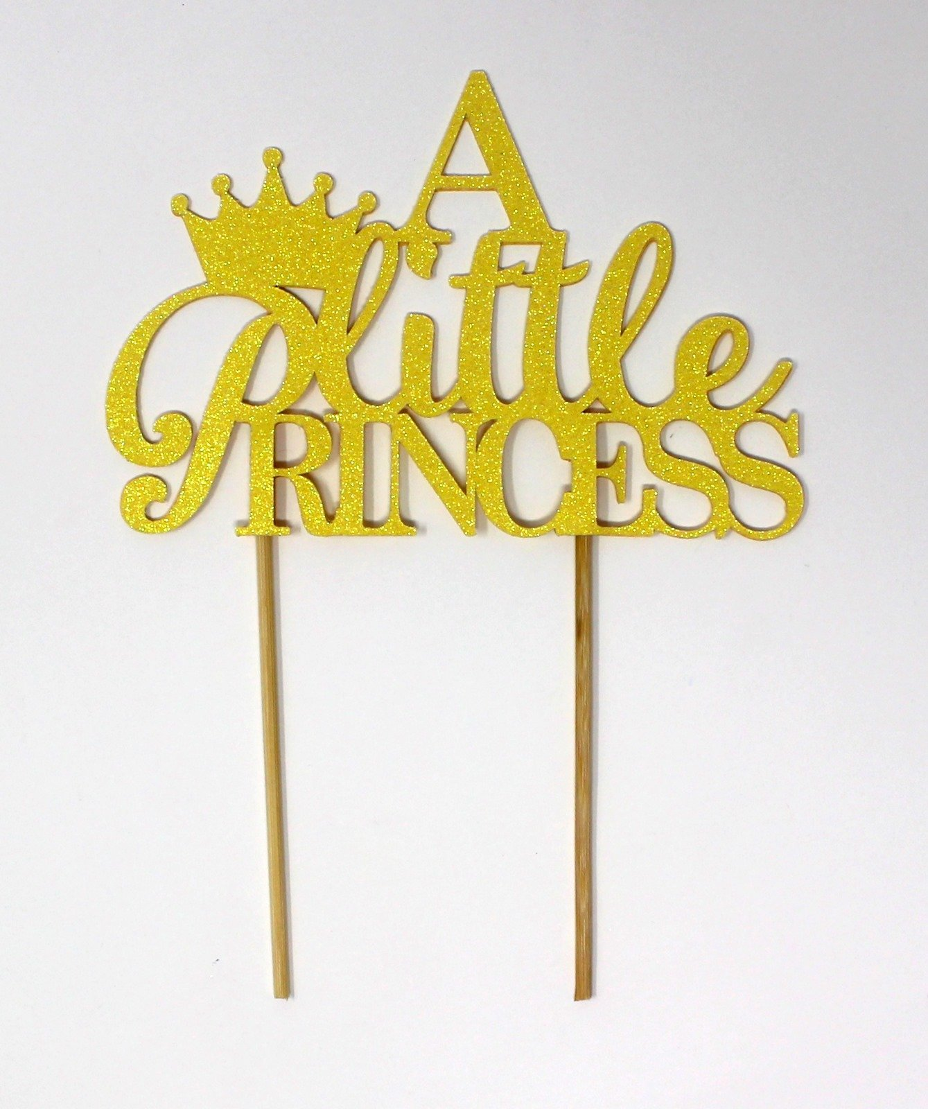 All About Details X001S0WLT5 Little Princess Cake, 1pc, 1st Birthday, Welcome Baby Girl, Party Decor, Topper (Glitter Pastel Yellow), 6-in Wide and 4-in Height (Plus 4-in Wood Sticks)