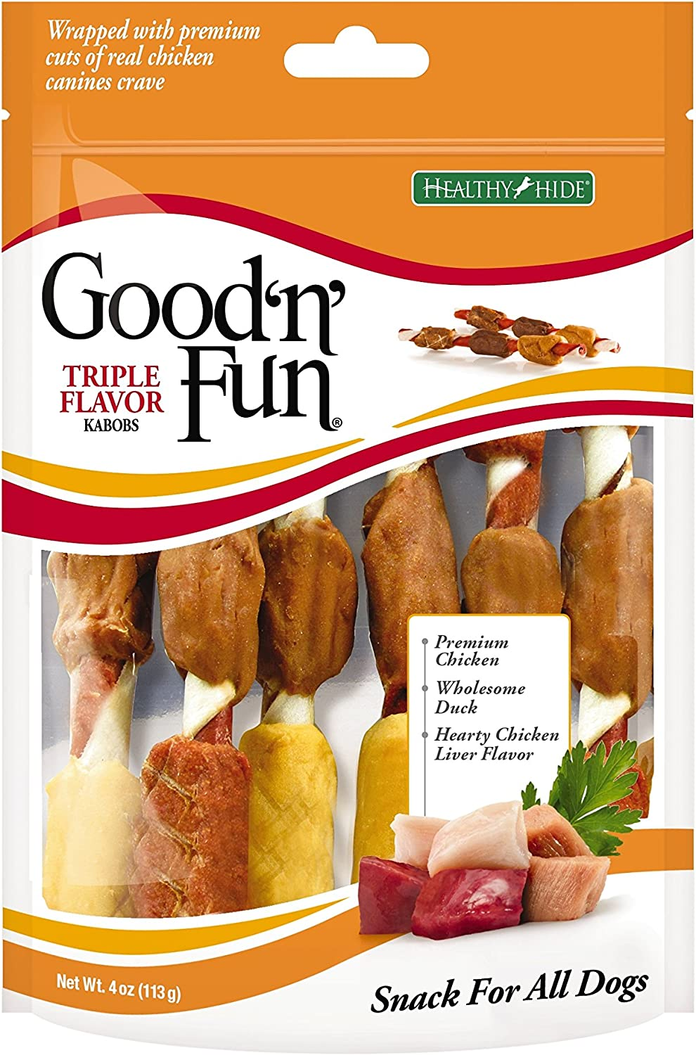 Good'N'Fun Triple Flavored Rawhide Kabobs for Dogs