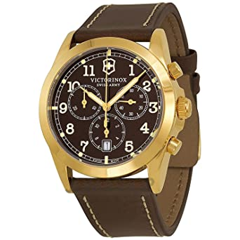 8543e3133ae Image Unavailable. Image not available for. Color  Swiss Army 241647 Men s Infantry  Brown Dial Brown Leather Strap Chronograph Watch