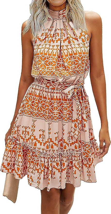 BTFBM Women Floral Dresses Casual Summer Sleeveless Halter Neck Ruffle Belt Boho Polka Dot Leopard Print Sun Short Dress   Amazon