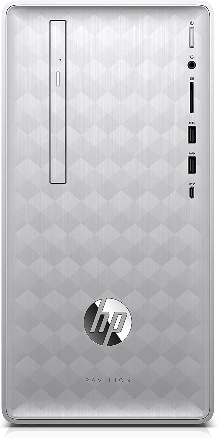 HP Pavilion Desktop Computer, Intel Core i3-8100, 8GB RAM, 1TB hard drive, Windows 10 (590-p0030, Silver) (Renewed)