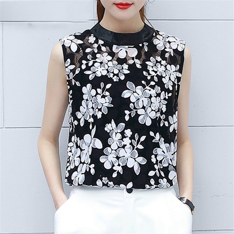 OUXIANGJU Summer Women Feather Print Shirts Black Lace Tops Sleeveless Beading Zipper Blouse at Amazon Womens Clothing store: