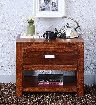 Brookwood Sheesham Wood Bedside End Table for Bedroom | 1 Drawers & 1 Shelf Storage | Honey Finish