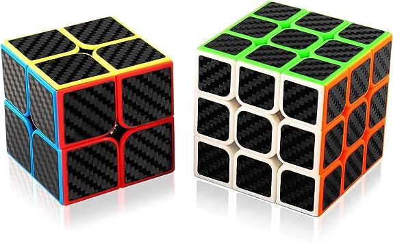 abwei Cubo, Cubo Mágico Speed Cube Puzzle Pack - 2x2 3x3 Adhesivo de Fibra de Carbono Cube para Juegos Rompecabezas y Regalo Festivo …: Amazon.es: Juguetes y juegos