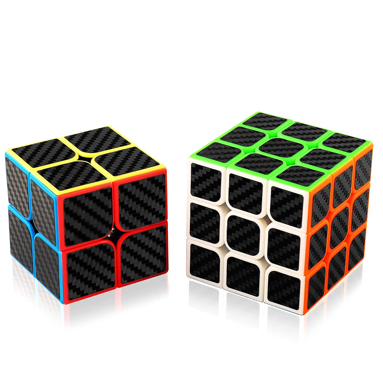 Zauberwü rfel Set, Abwei Speed Cube 2x2x2 3x3x3 4x4x4 5x5x5 Magic Cube Carbon Faser Aufkleber Speedcube Set Puzzle Wü rfel Spielzeug fü r Kinder und Erwachsene(4 Pack)