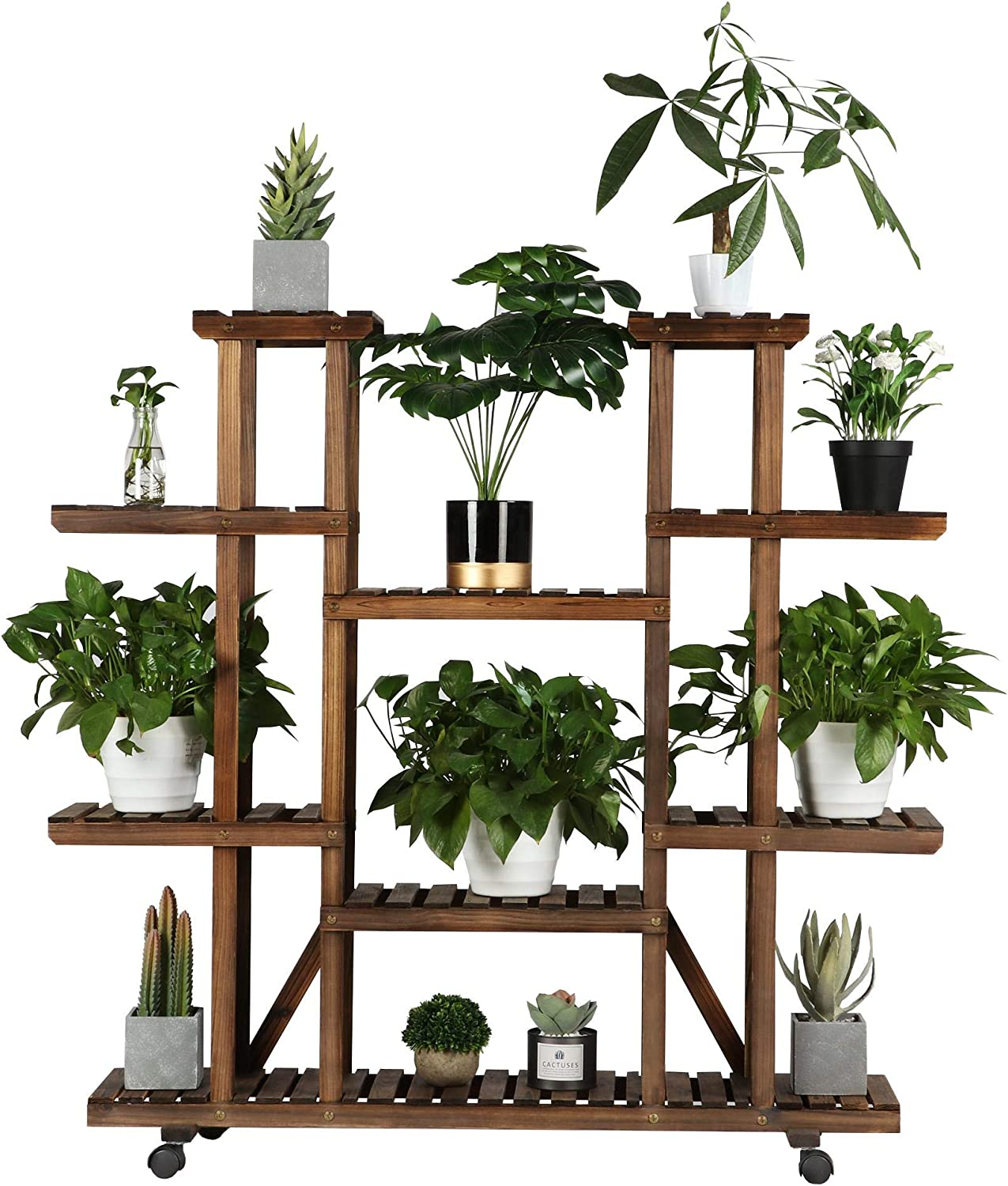 Details about  /Wooden Bookcases Plants Display Stand Shelf Bookshelf Storage Rack Balcony