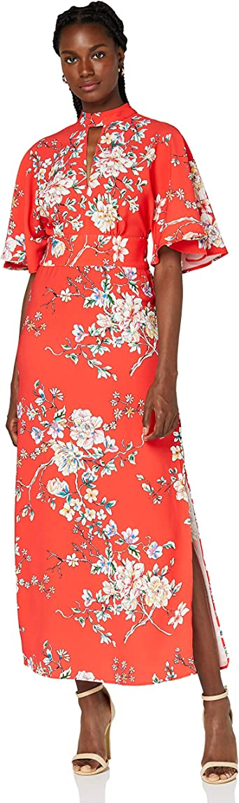 TALLA 38 (Talla del Fabricante: Small). Marca Amazon - TRUTH & FABLE Vestido Mujer Estampado Multicolor (Red) 38 (Talla del fabricante: Small)