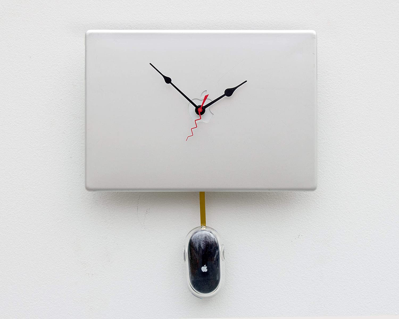 MacBook clock, mouse, iPad, Pro, Apple, clock, MacBook, upcycled, Mac, iphone, ipod, Retro, gift, laptop, pendulum, silver, Black, cover