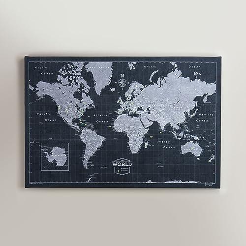 world travel map pin board modern slate