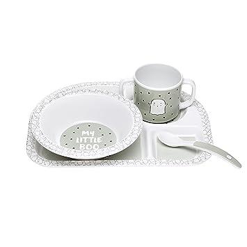 Melamin//Dish Set Little Spookies olive L/ÄSSIG Kindergeschirr-Set Teller, Sch/üssel, Tasse, L/öffel