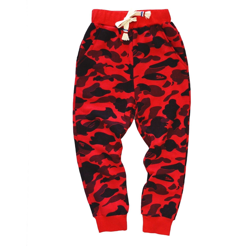 KISBINI Boy's Cotton Camouflage Sweatpants Sports Pants for Children