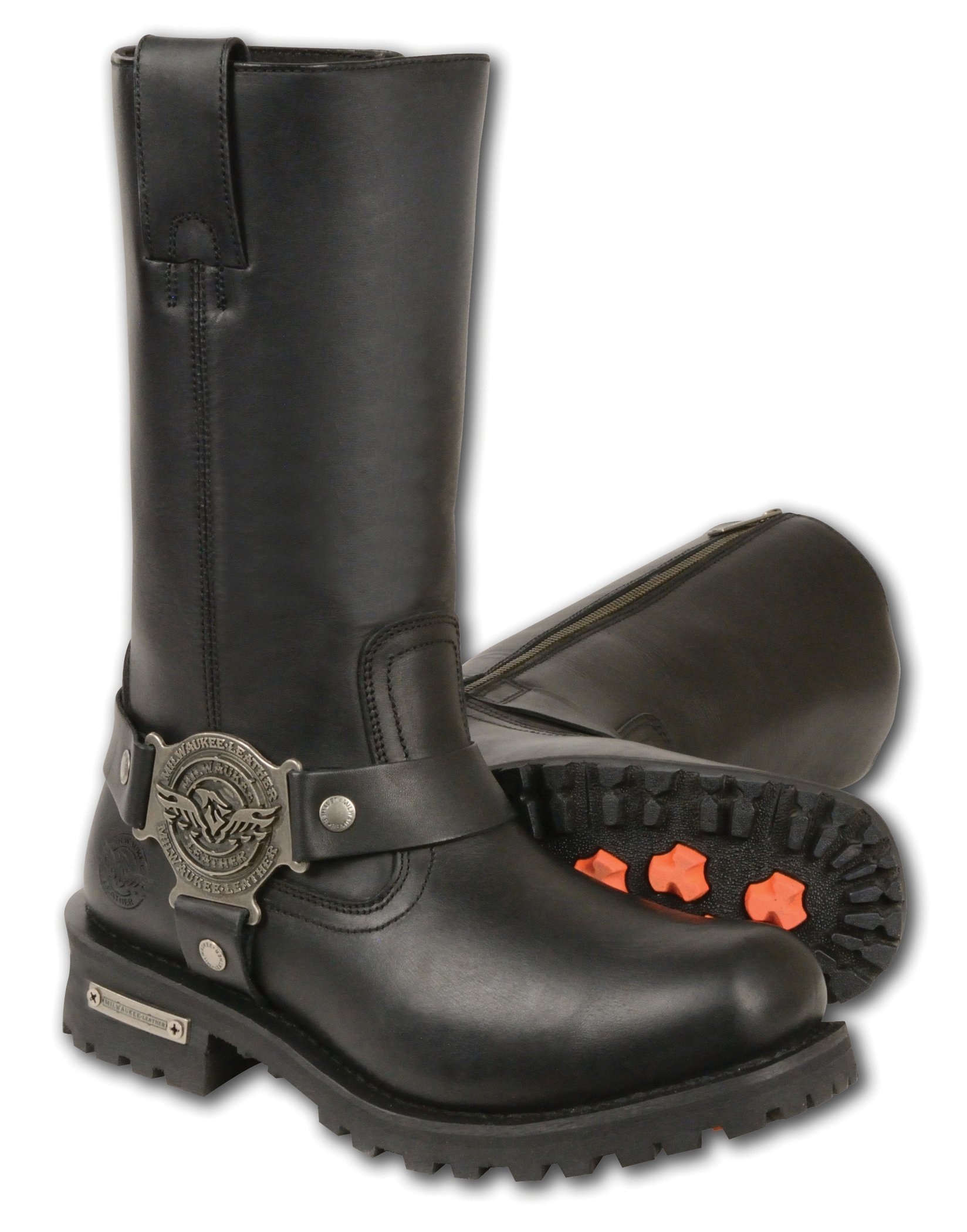 Milwaukee Leather Men's Wide Classic Motorcycle Harness Boots (Black, Size 9) by Milwaukee Leather