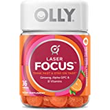 OLLY Laser Focus Gummy, 18 Day Supply (36 Gummies), Berry Tangy Tangerine, Ginseng, Alpha GPC, B Vitamins, Chewable…