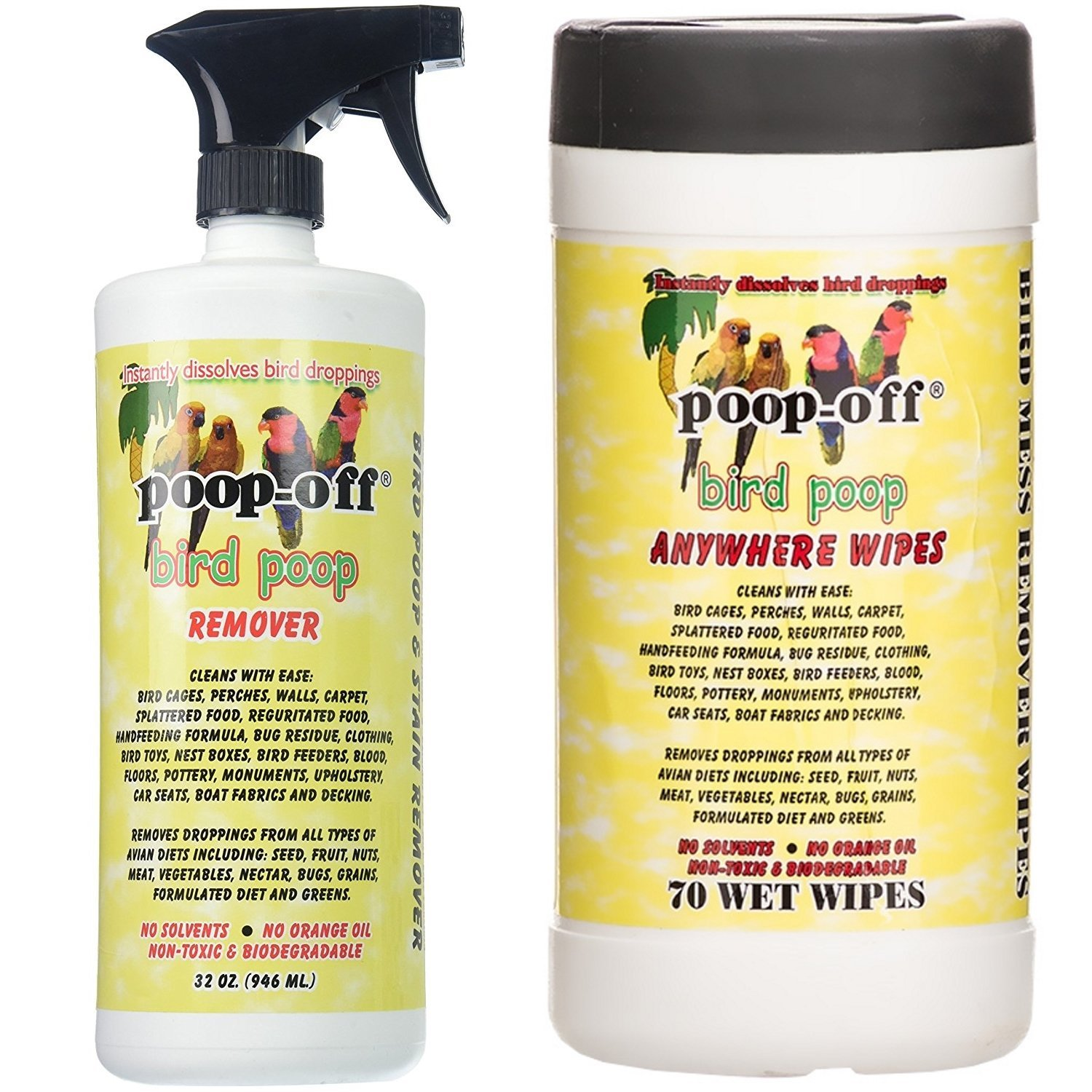 Poop-Off Bird Poop Remover Spray and Anywhere Cleaning Wipes, 32-Ounce Spray and 70 Wipes