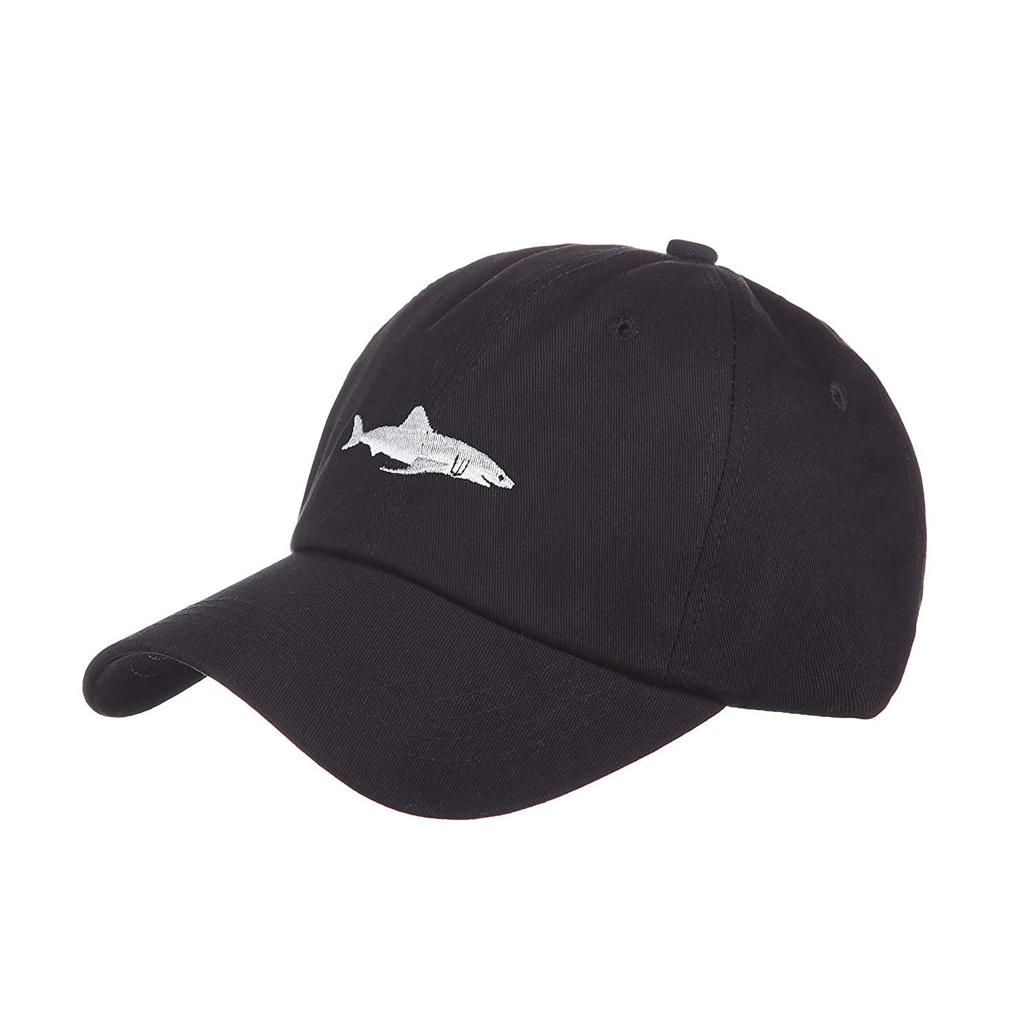 Black and Burgundy Red Soft Cotton Baseball Cap with Embroidered Cartoon  Shark Fashionable Outdoor and Recreation Casual Sun Hat for Men and Women  (Black) ... cf2f2512f96