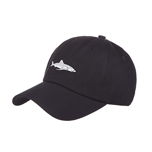 Black and Burgundy Red Soft Cotton Baseball Cap with Embroidered Cartoon  Shark Fashionable Outdoor and Recreation 8eb7b339e73