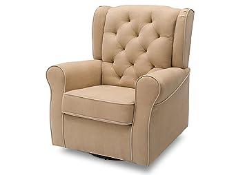 Bon Delta Furniture Emerson Upholstered Glider Swivel Rocker Chair, Beige With  Ecru Welt