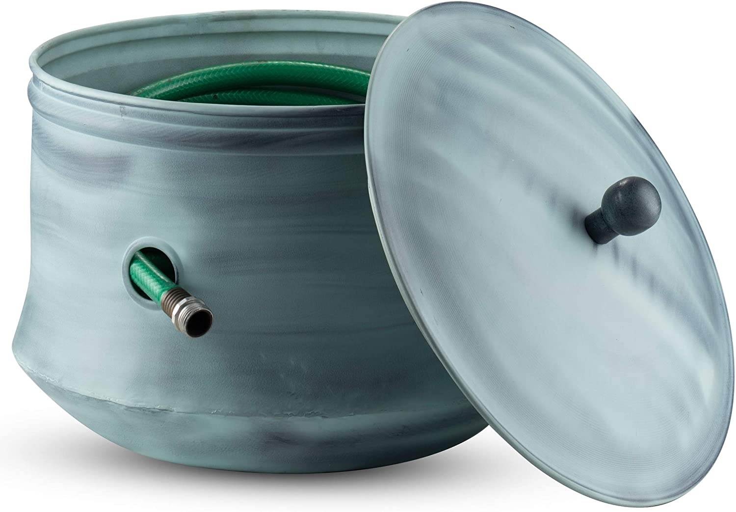 LifeSmart Decorative Garden Hose Pot Storage Holder with Lid Copper Finish 12 x 16 Inches Green Finish