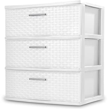 Sterilite 3 Drawers Wide Weave Tower Plastic Storage Organization- White (White) (Wide Drawer)