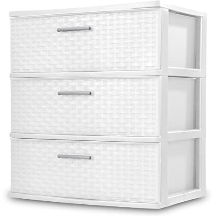 Sterilite  Drawers Wide Weave Tower Plastic Storage Organization White White Wide