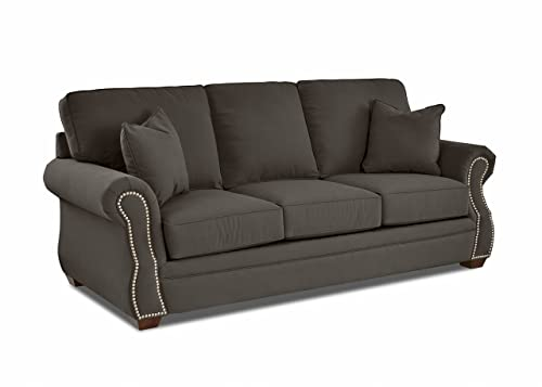 Klaussner Home Furnishings Jensen Sofa with 2 Throw Pillows, 40 L x 91 W x 31 H, Pewter