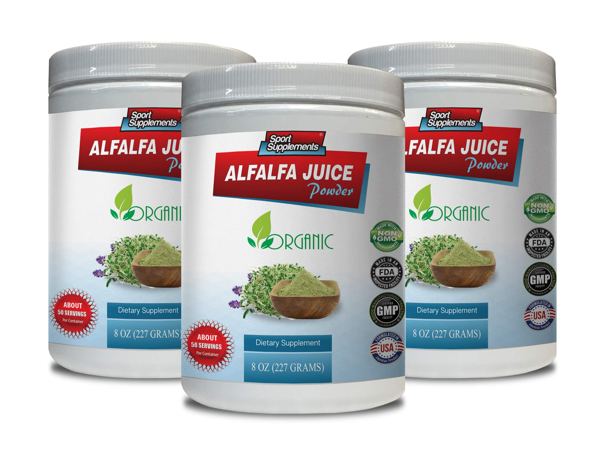 antioxidant Green superfood Powder - Alfalfa Juice Powder - Organic Dietary Supplement - superfood Powder for Women - 3 Cans 24 OZ (150 Servings) by Sport Supplements (Image #1)