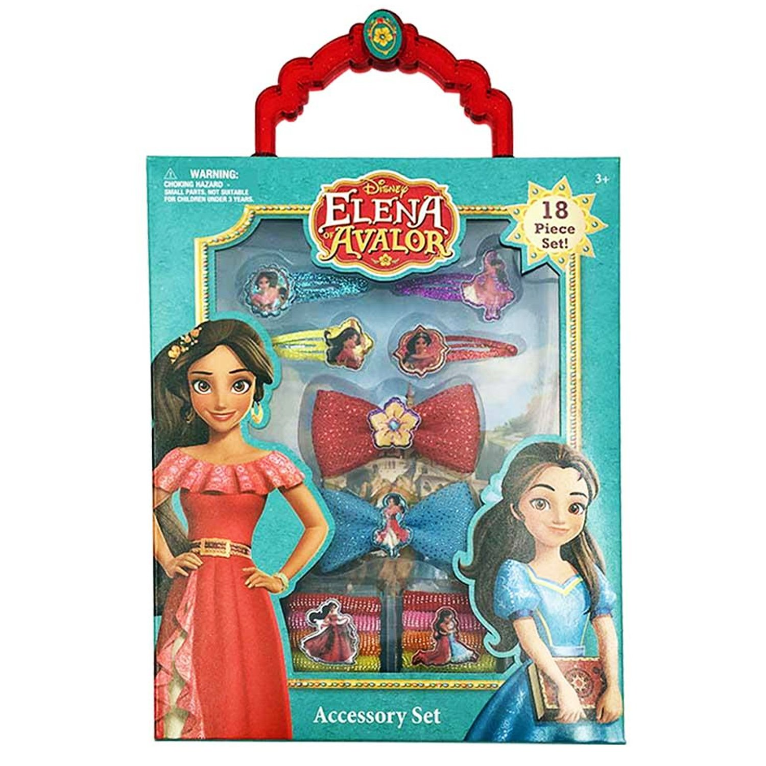 Elena of Avalor Kids Girls 18pc Hair and Jewelry Accessories Set for Ages 3+: 4 Snap Clips 2 Bows and 12 Terries