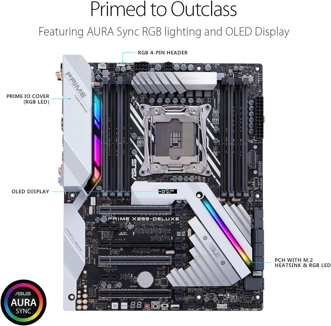 ASUS Prime X299-DELUXE LGA2066 DDR4 M.2 U.2 Thunderbolt 3 USB 3.1 X299 ATX Motherboard with Dual Gigabit LAN and 802.11AD WiFi for Intel Core X-Series ...