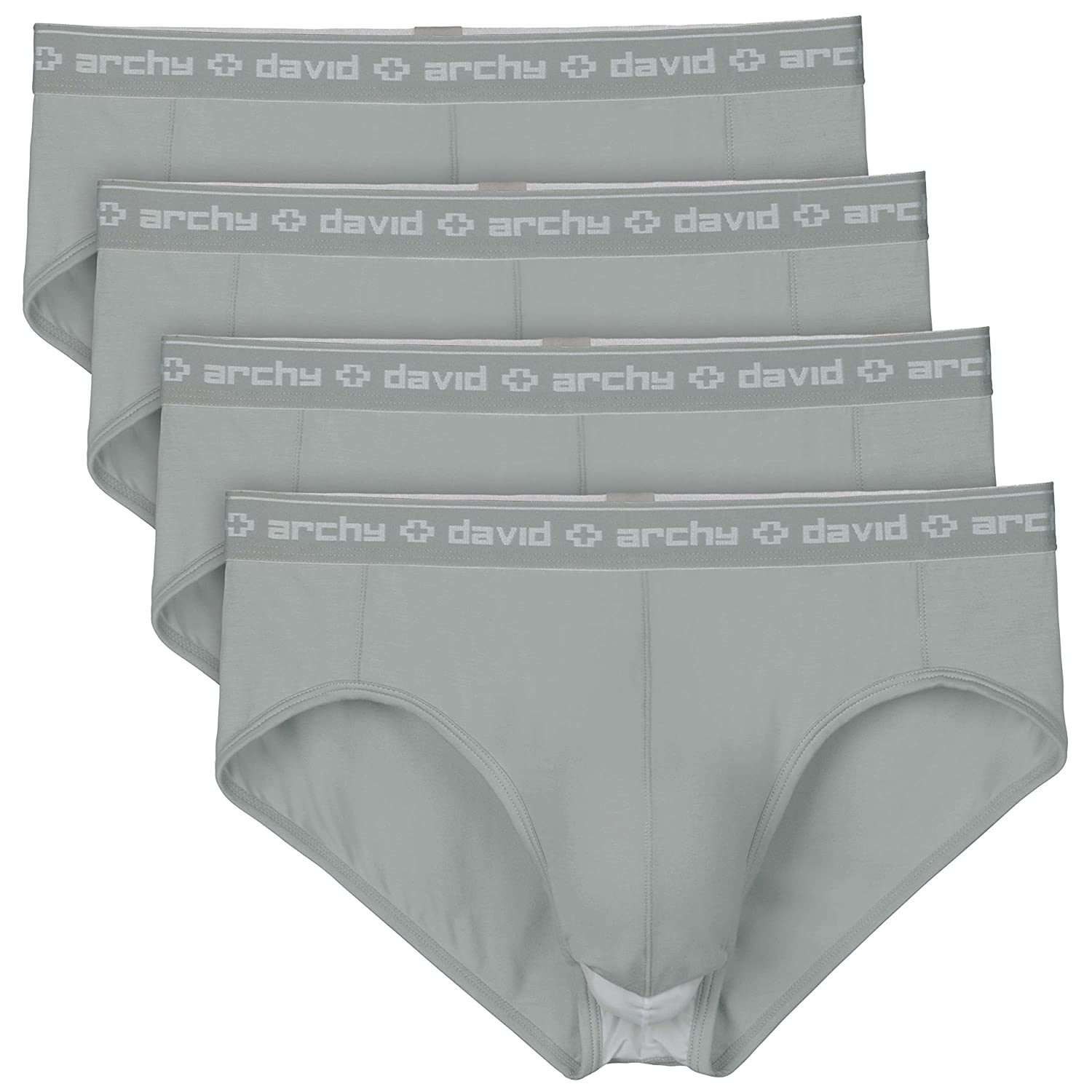 David Archy Men's 4 Pack Micro Modal Separate Pouch Briefs With Fly
