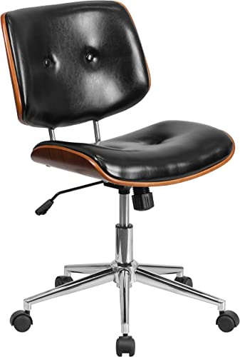 Flash Furniture Low Back Black LeatherSoft Ergonomic Wood Swivel Task Office Chair
