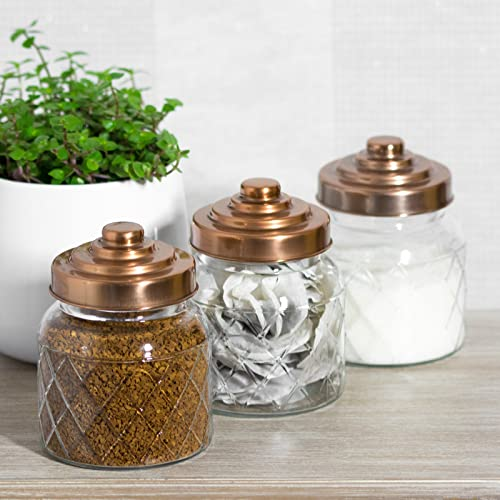 kitchen storage canisters copper tea coffee sugar storage jar canister set 13810