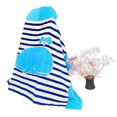 Uworth Toalla de Baño Niño 100% Algodón con Capucha Toalla de Playa Adulto Azul