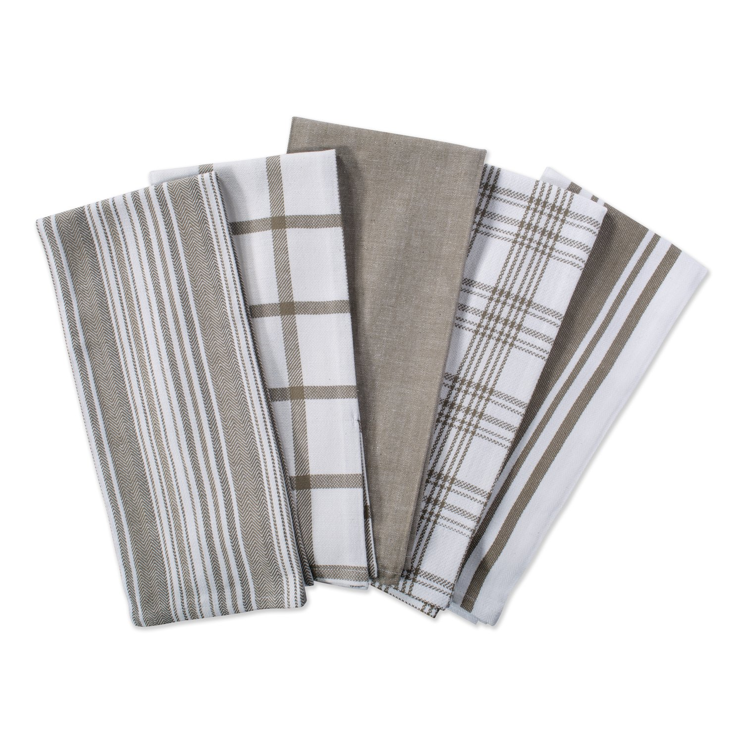 """DII Kitchen Dish Towels (Brown, 18x28""""), Ultra Absorbent & Fast Drying, Professional Grade Cotton Tea Towels for Everyday Cooking and Baking -Assorted Patterns, Set of 5"""