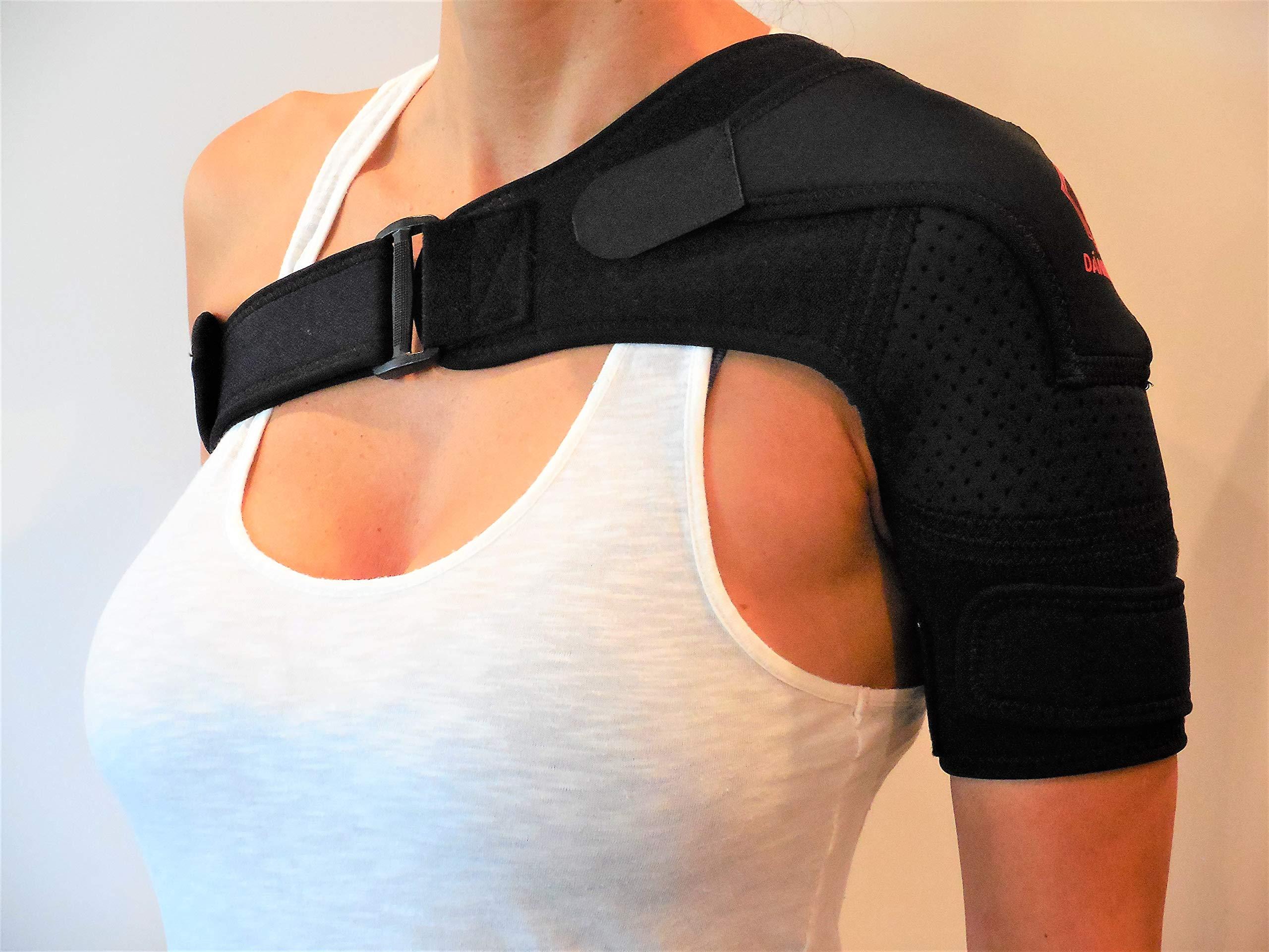 Shoulder Brace for Women and Men by DÁNIMO - Lightweight Neoprene Shoulder Support for Rotator Cuff, Shoulder Pain, Tendonitis, Bursitis - Adjustable Shoulder Compression Sleeve for Cold/Heat Therapy