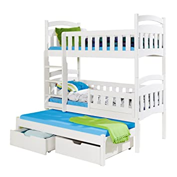 Children Triple Bunk Bed Dominic 3 Pine Wood Trundle Bed High Sleeper Various Colours 2 Sizes Shorter 190cm X 87cm X 175cm