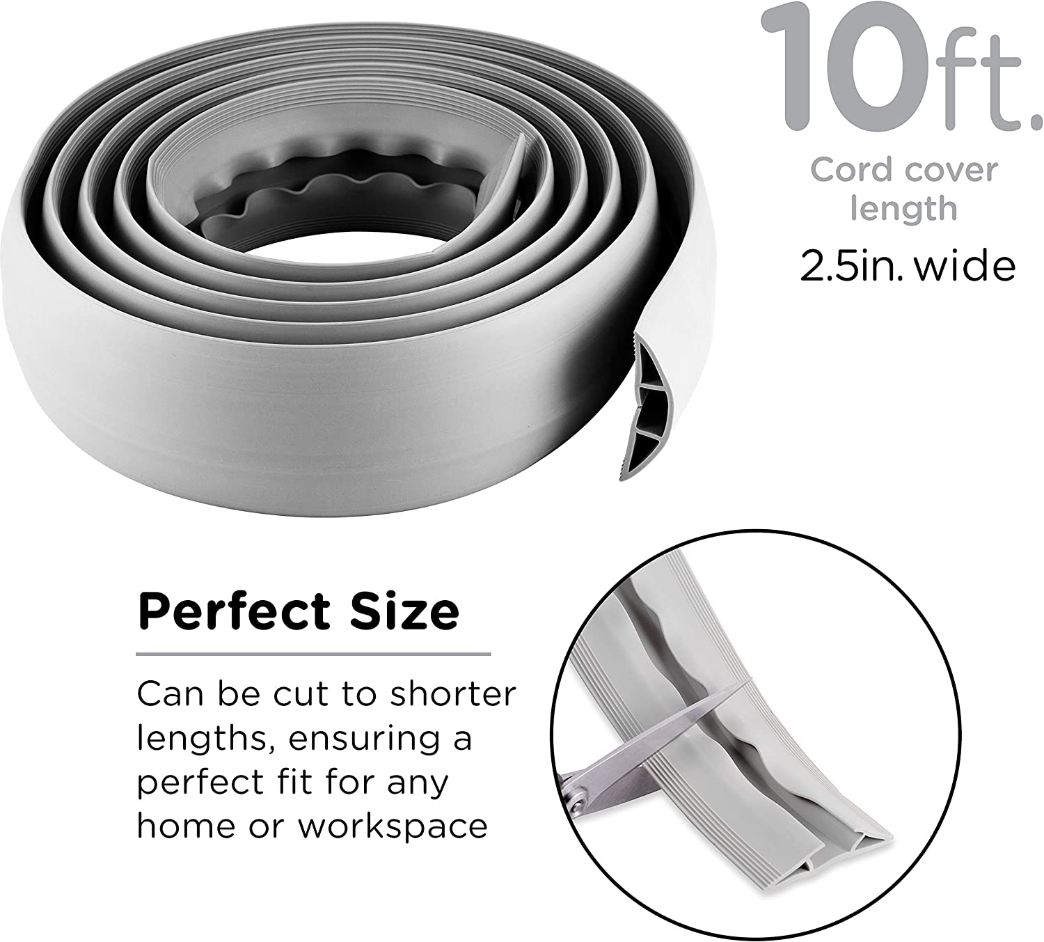 Rubber Low Profile Cordinate 10 Ft Floor Cord Cover Cable Protector Gray 49627