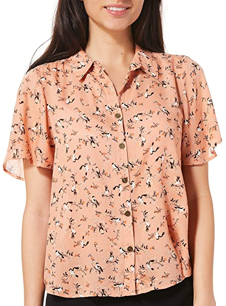 9336091b Rewind Juniors Bird Print High-Low Top at Amazon Women's Clothing store: