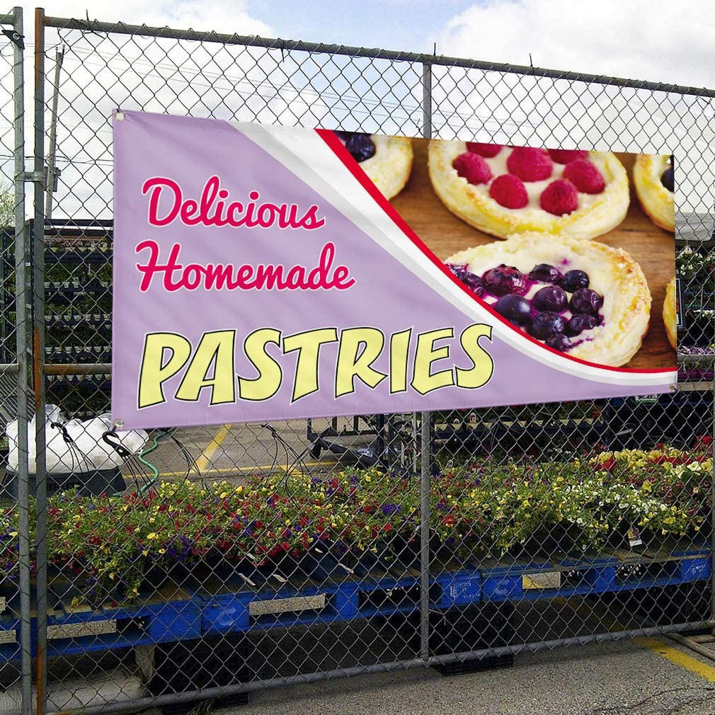 Vinyl Banner Sign Delicious Homemade Pastries Outdoor Marketing Advertising Purple 44inx110in One Banner 8 Grommets Multiple Sizes Available