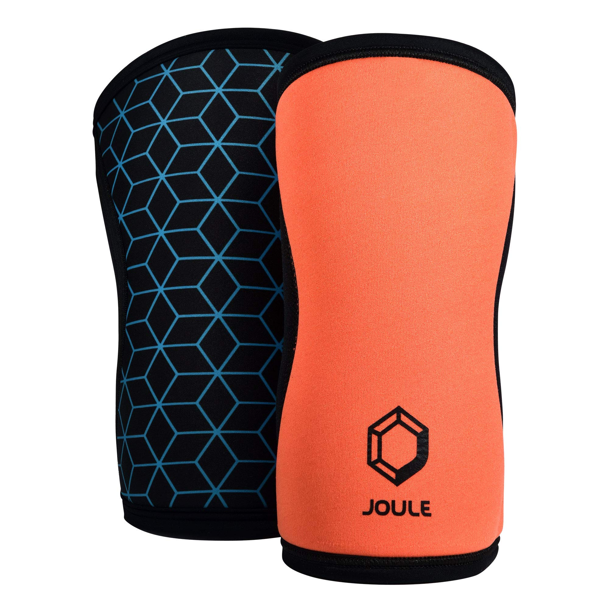 JOULE Active Reversible Knee Sleeve - 7mm Pair of 2 Neoprene Sleeves with Compression for Weightlifting, Powerlifting, and Crossfit - (Orange/Blue, X-Large)