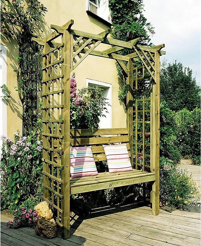 Ocio entusiasmo 4 Gloucester - pérgola asiento - banco con paneles - madera: Amazon.es: Jardín