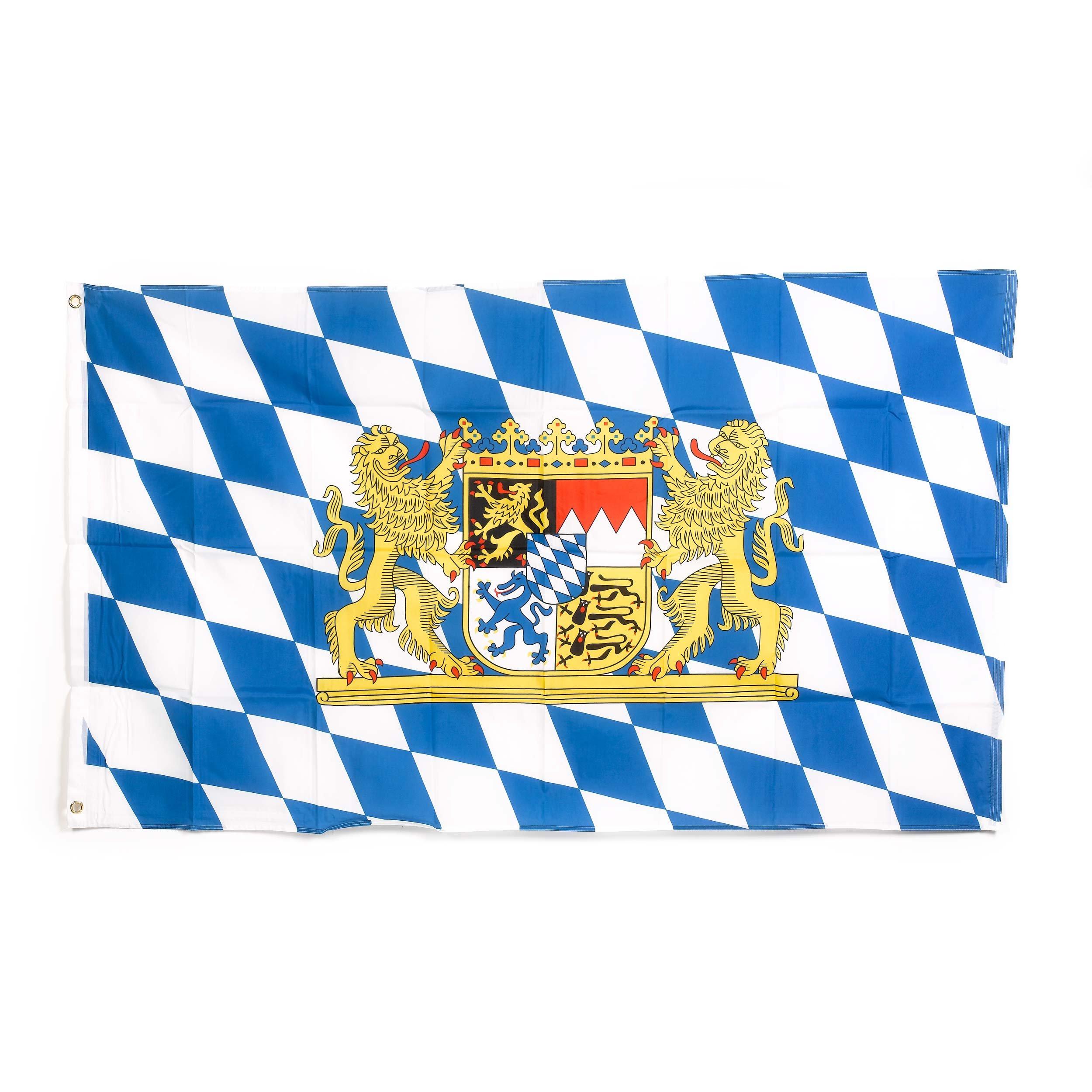 Oktoberfest Bavarian Check Flag with Lion, 3 x 5 Feet