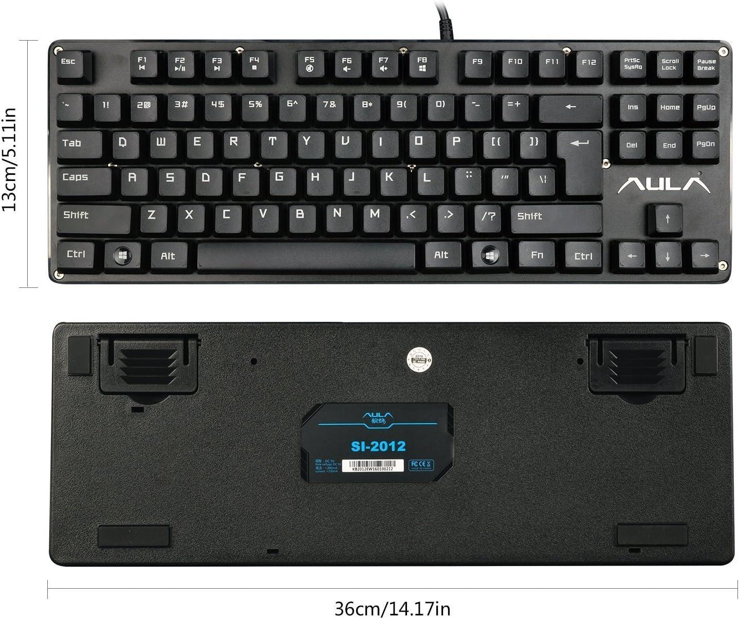 Uso Domestico intrattenimento di Gioco Denash Tastiera Meccanica da Gioco Tastiera Mute cablata USB con 104 Tasti per Ufficio Aziendale