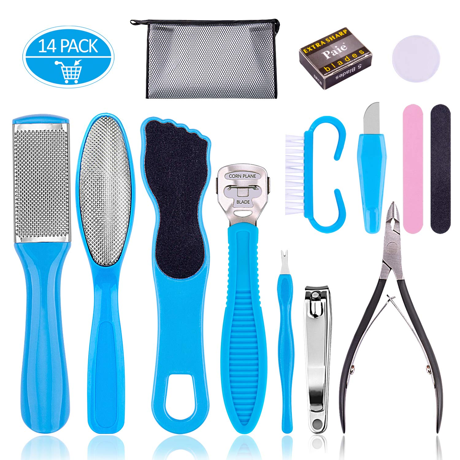Professional Pedicure Tools Set 14 in 1, Inpher Stainless Steel Foot Rasp Foot Peel and Callus Clean Feet Dead Skin Tool Set, Nail Toenail Clipper Foot Care Kit for Women Men Salon or Home